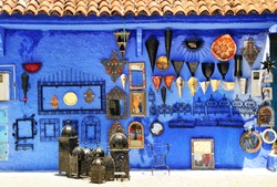 Gift shop in Chefchaouen, Marocco. Colorful moroccan handmade souvenirs