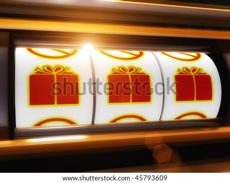 Gift surprise present jackpot slot machine illustration