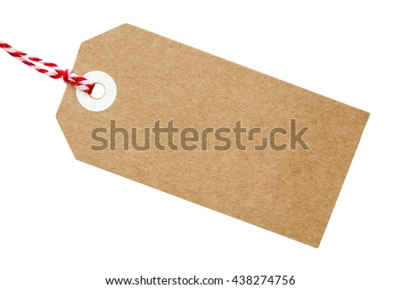 Gift tag made from brown recycled card with red and white string on on an isolated white background with a clipping path