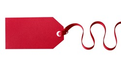 Gift tag, red, horizontal