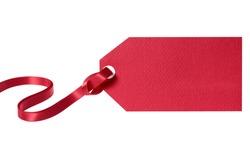 Gift tag, red ribbon