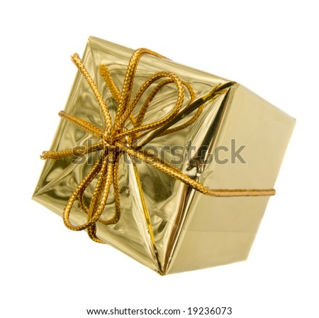 Gift to Christmas as a brilliant box isolated on white