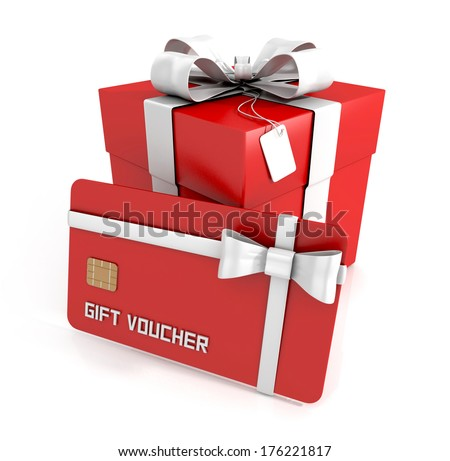 gift voucher gift card with white ribbon and gift box isolated on white background 3D render
