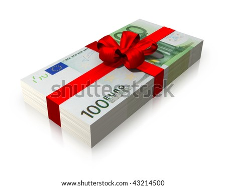 gift wad of 100 euro with a red ribbon isolated on white background - stock photo