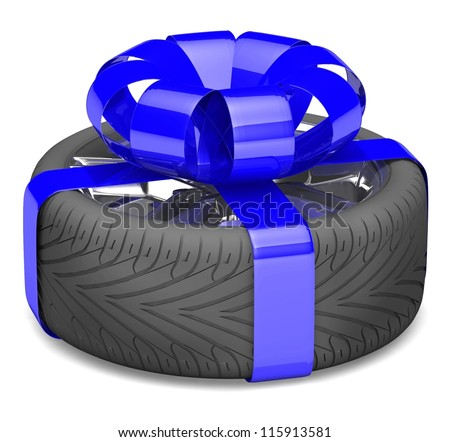 gift wheel, tied with a blue ribbon as a gift. illustration on white.