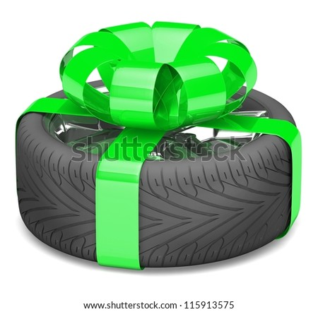 gift wheel, tied with a green ribbon as a gift. illustration on white.
