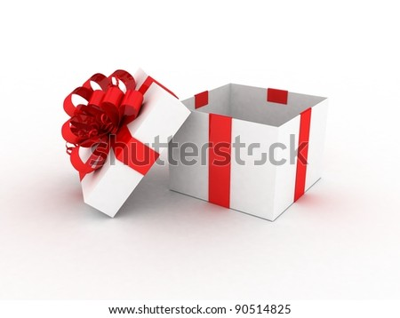 Gift white box, 3D - stock photo