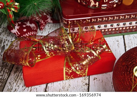 Gift with a bow under the tree