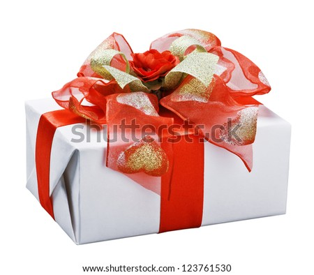 Gift with red bow isolated on white background