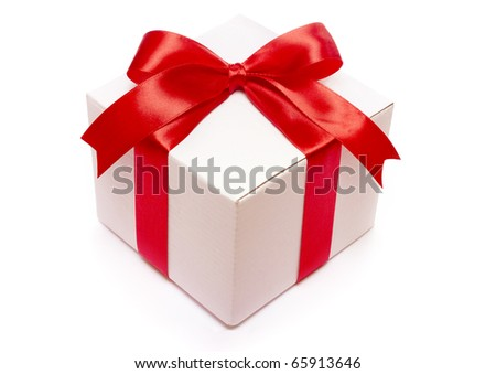 Gift with ribbon and bow isolated on the white background,