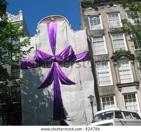 Gift Wrapped House - stock photo