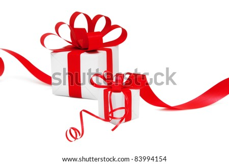 Gift wrapped with a red ribbon
