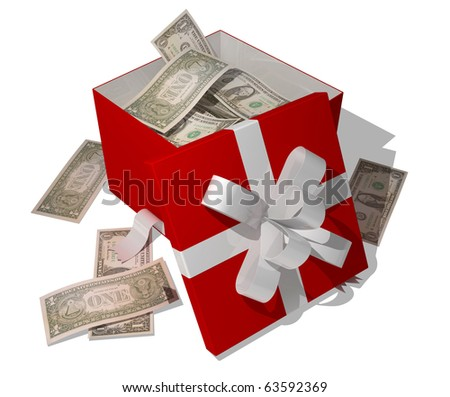 giftbox full of dollars
