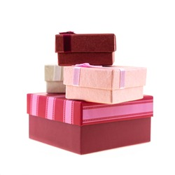 giftbox high pile of gifts pink and red boxes on white isolated background