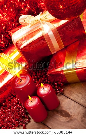 Gifts and candles - christmas decoration