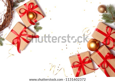 gifts and new year decor on a white background top view. A holiday, a gift, a Christmas, a new year. flatlay  #1131602372