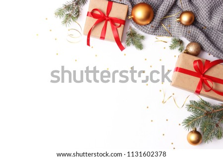 gifts and new year decor on a white background top view. A holiday, a gift, a Christmas, a new year. flatlay  #1131602378