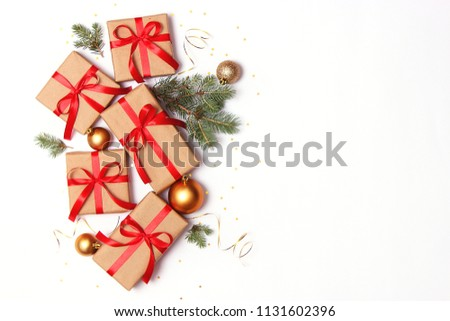 gifts and new year decor on a white background top view. A holiday, a gift, a Christmas, a new year. flatlay  #1131602396