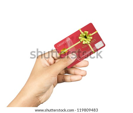 Gifts by credit card in hand.