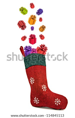 Gifts coming out of red christmas sock. Isolated on white background.