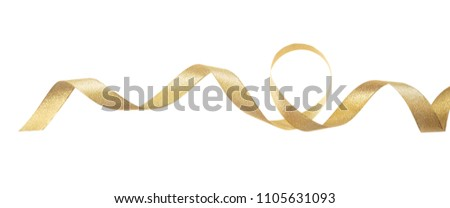 Gifts concept. Golden satin ribbon isolated on white background, banner