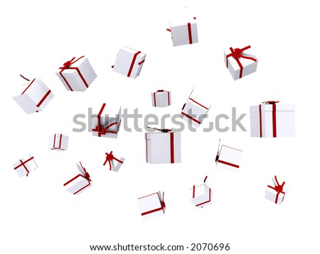gifts falling down over white - good for a background