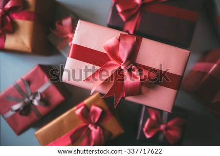 Gifts for holiday top view. Holidays Christmas, birthday, Valentine\'s Day.
