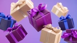 Gifts in flying boxes, wrapped in blue, purple and kraft paper with bow on lilac background. Sale, discounts.
