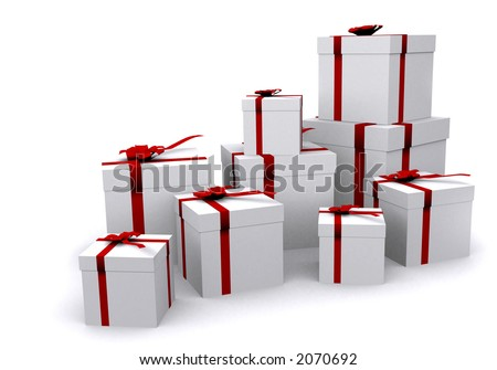 gifts over white wrapped in white paper with red ribbons - 3d render