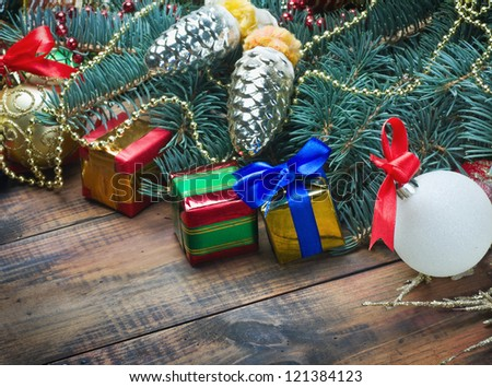 gifts under the Christmas tree and decorations - stock photo