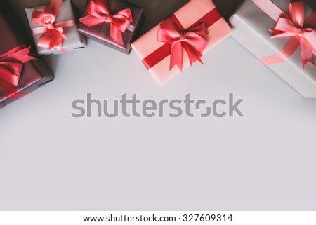 Gifts with copy space top view.