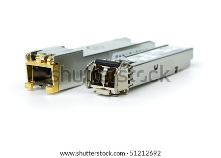 Network Gigabit Switch on Stock Photo   Gigabit Sfp Modules For Network Switch Isolated On The
