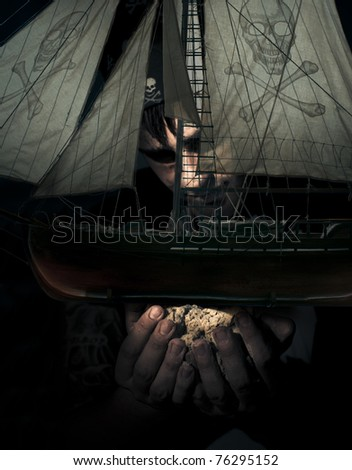 Gigantic Evil Pirate Takes Hold And Captures Another Pirate Ship In Hand While In The Darkened Sea Of Dead Mans Ocean In A Victory Of Conquest Conceptual