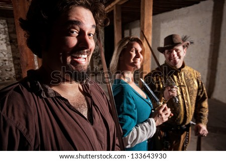 Giggling group of European middle ages characters