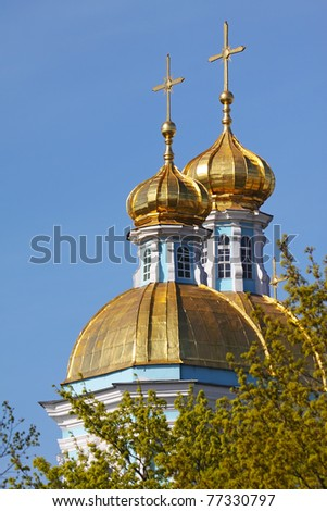 Gilded domes of St. Nicholas Cathedral in St. Petersburg