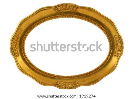 gilded oval frame - stock photo