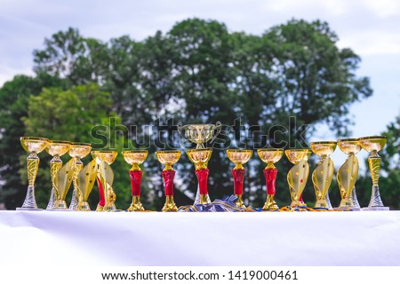 Gilding glittering cups for rewarding winners in competitions #1419000461