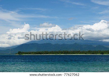 Gili islands near the Bali island. The most populat tourist destination in Indonesia, Nusa tenggara. - stock photo