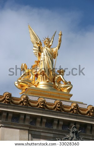 Gilt bronze statue atop the Opera Garnier in Paris. HARMONY sculpted by Charles Gumery.