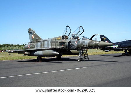 GILZE RIJEN, THE NETHERLANDS - JUNE 18: French Air Force Mirage 2000 on static display during the Dutch Air Force Open House. June 18, 2005 in Gilze-Rijen, The Netherlands