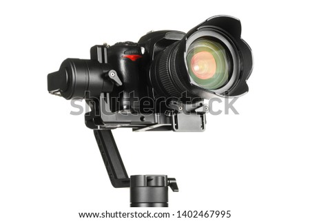 Gimbal three-axis motorized stabilizer with mounted DSLR camera isolated on white background #1402467995