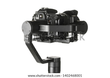 Gimbal three-axis motorized stabilizer with mounted DSLR camera isolated on white background #1402468001