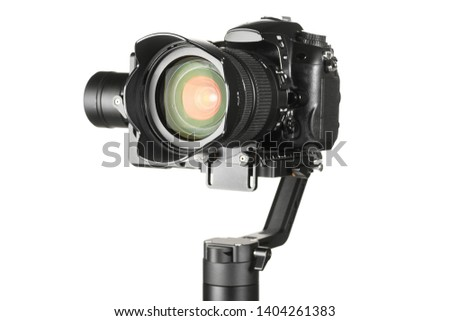 Gimbal three-axis motorized stabilizer with mounted DSLR camera isolated on white background #1404261383