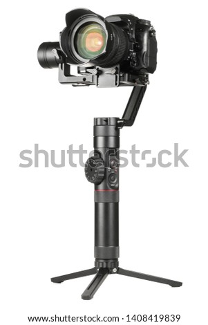 Gimbal three-axis motorized stabilizer with mounted DSLR camera isolated on white background #1408419839