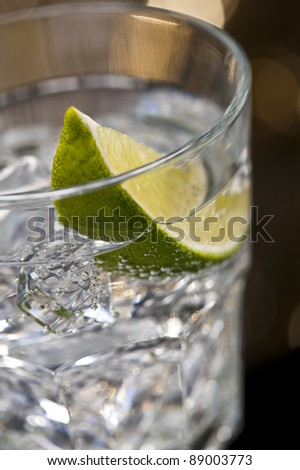 Gin Tonic Cocktail in front of a brown gold background