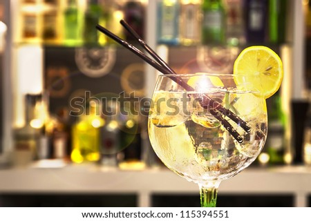 Gin Tonic Cocktail with slice of lemon