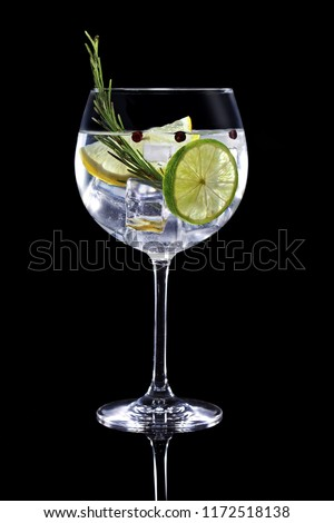 gin tonic garnished with citrus fruit and rosemary isolated on black background Foto stock ©