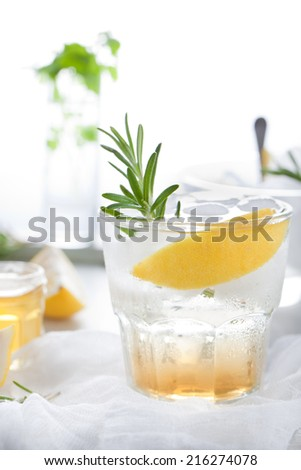 Gin, tonic, lemon, rosemary fizz, cocktail with honey and fresh herbs on a white background.