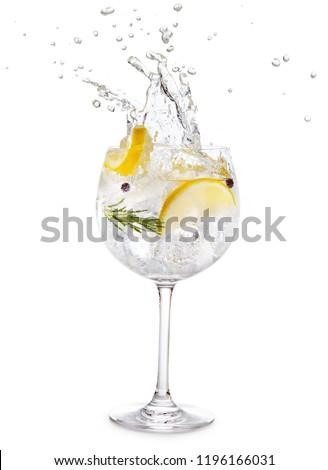 gin tonic splashing isolated on white background Foto stock ©