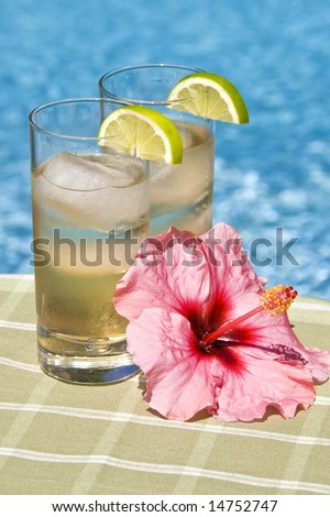 Ginger Ale Drinks in front of a Swimming Pool